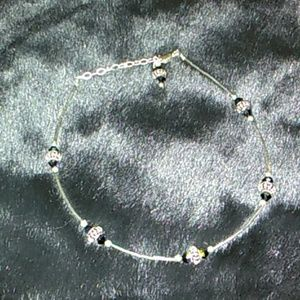 Sterling Silver Beaded Ankle Bracelet